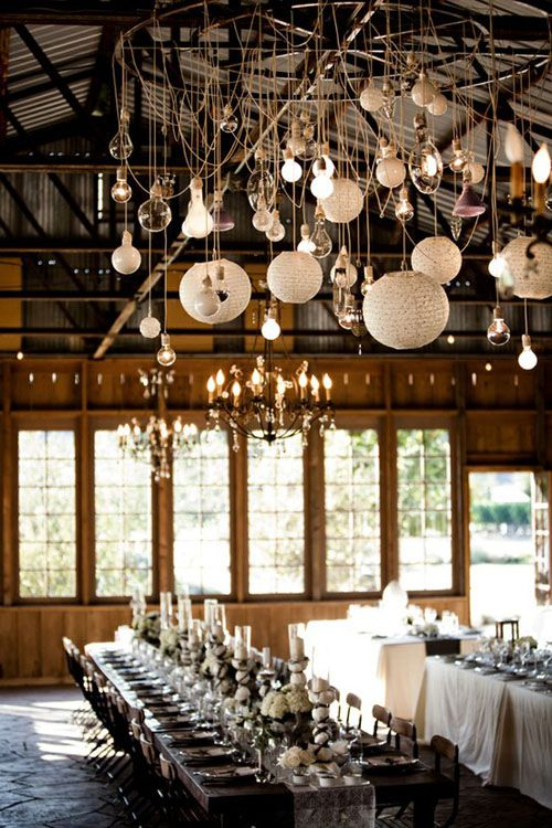 Decoración de bodas con luces mezclando diferentes estilos.