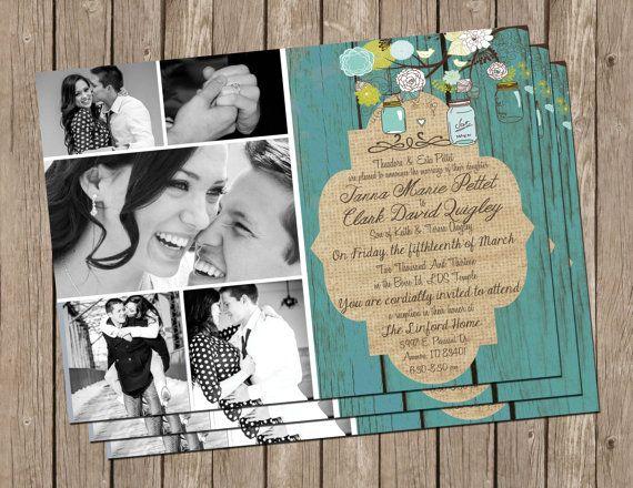 Tarjetas rústicas para bodas imprimibles con foto