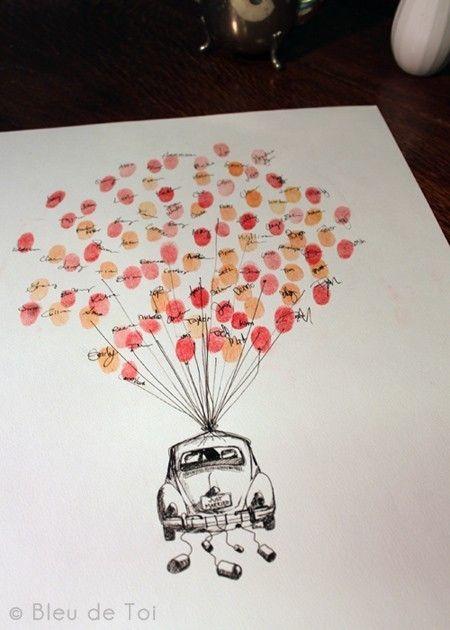 Libros de firmas para bodas con huellas dactilares de los invitados completando una ilustración
