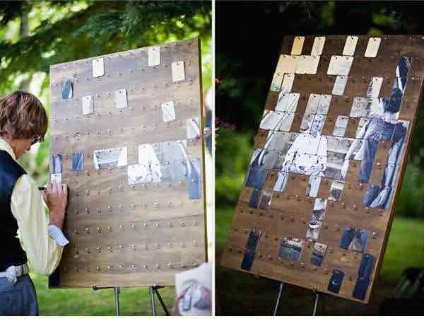 Libros de firmas para bodas de collage de fotografías con mensajes en el reverso que forman un enorme retrato de los novios