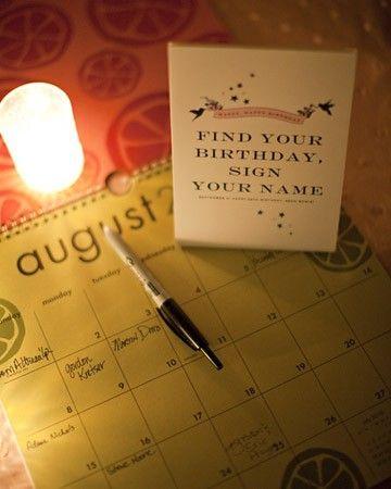 Ideas originales para bodas en un calendario para colocar un mensaje en el día de nacimiento de los invitados