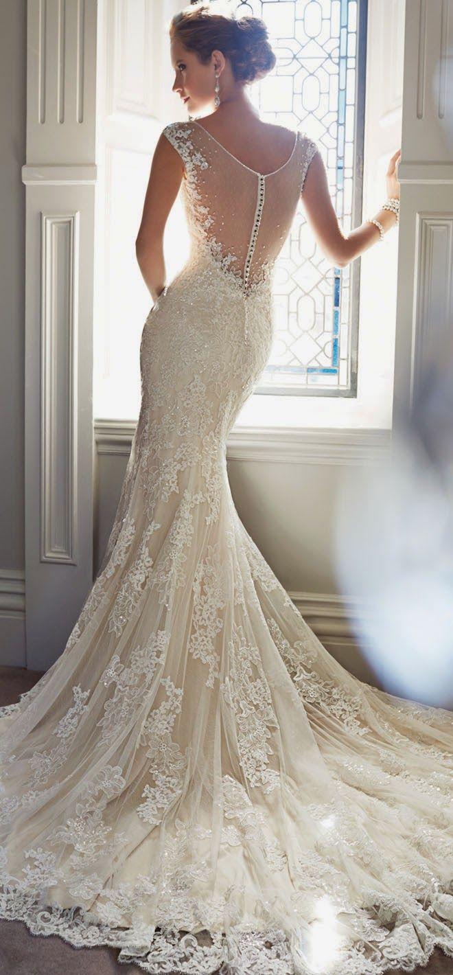 Encaje y ensueño en los vestidos de novia estilo tattoo lace y espalda ilusión de Sophia