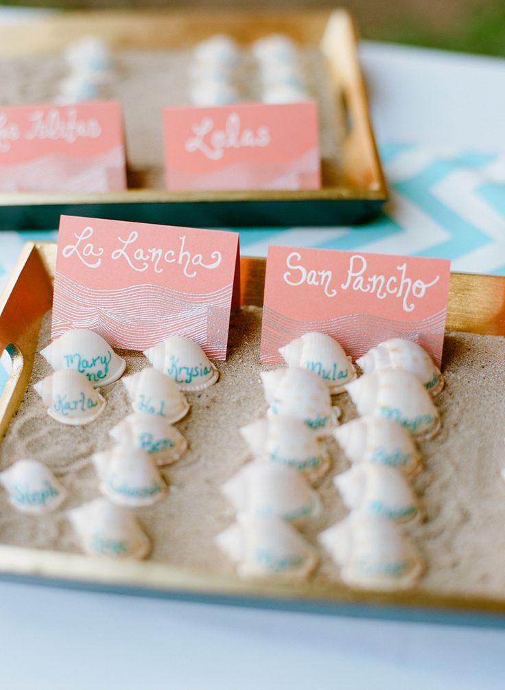 Números para mesas de boda en la playa de Jillian Mitchell