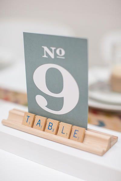 Para parejas lúdicas números para mesas de boda con Scrabble!!!