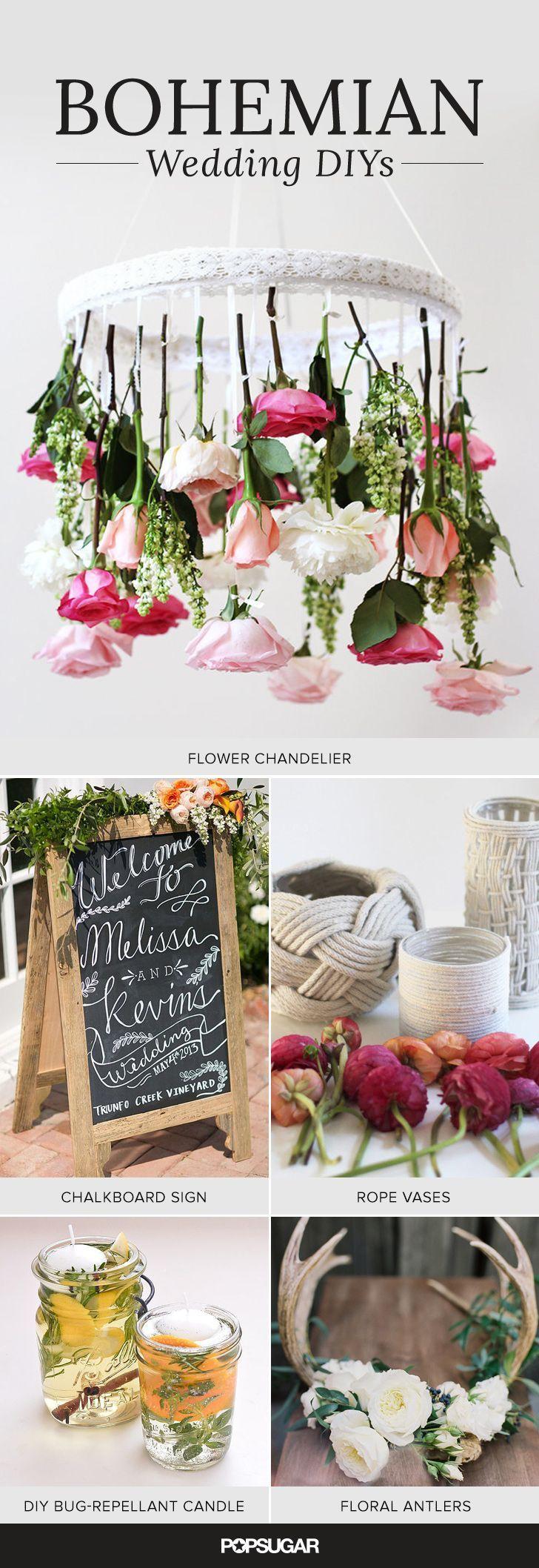 Manualidades para bodas boho: velas para repeler insectos, chandeliers, suculentas, de PopSugar.com