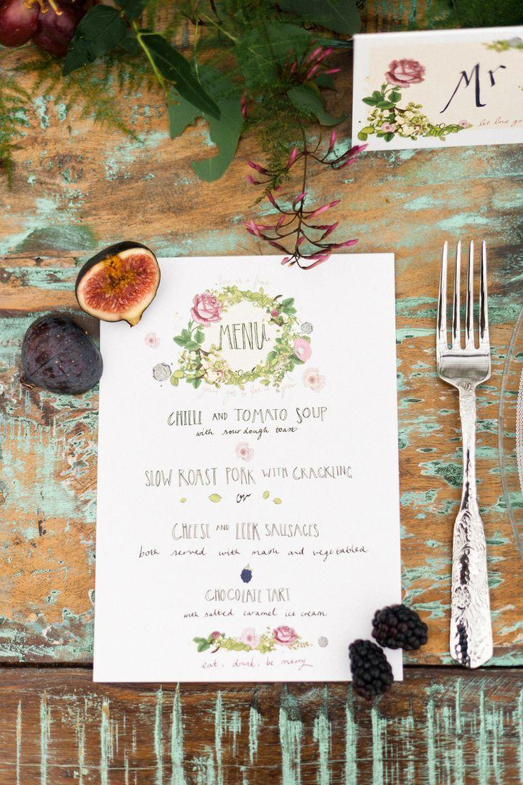 Menu de boda boho fotografiado por Anushé Low