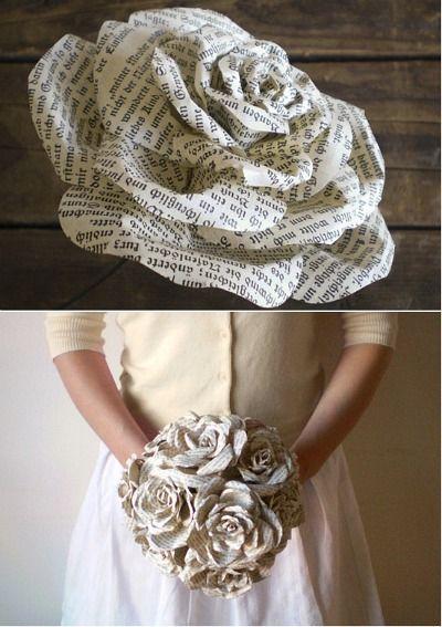 Para las más habilidosas: Original ramo de novia en papel, símil rosas.