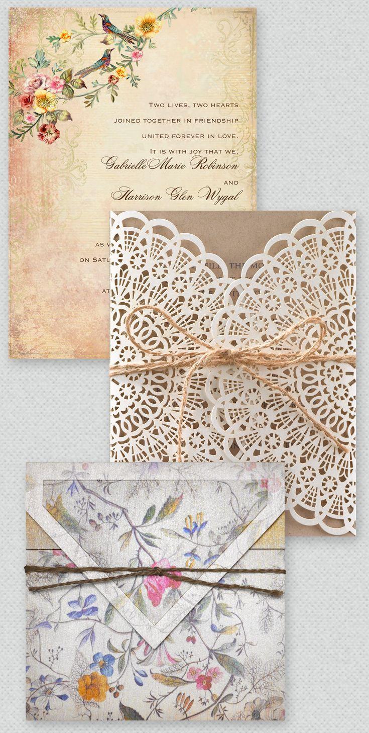 Preciosas y originales invitaciones de boda boho vintage.
