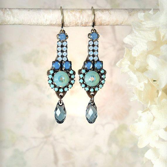 Románticos pendientes en turquesa con tonos aqua perfectos para una boda Wanderlust - Etsy.com