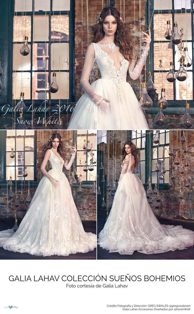 Vestidos de Novia de Galia Lahav Snow White. Espectacular vestido de novia con detalles de pedrería y joyas bordadas a mano.