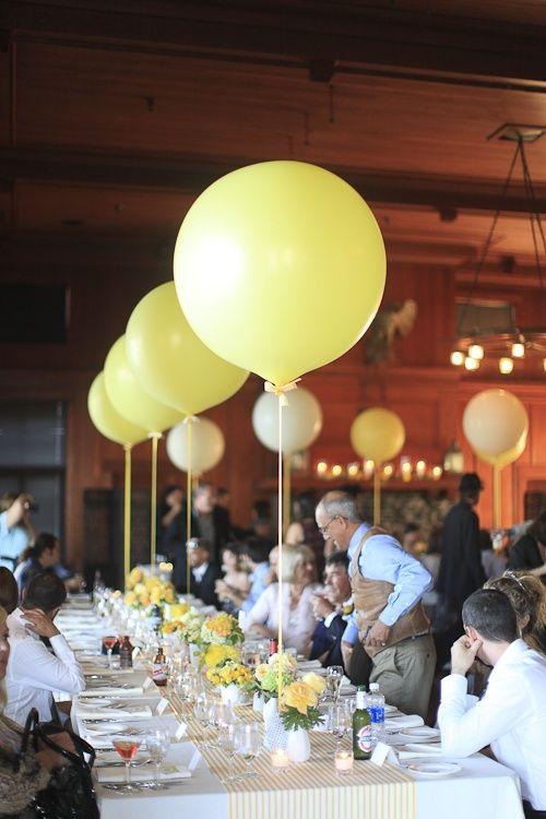 Decoración con globos en las mesas de boda, divertidas y económicas.