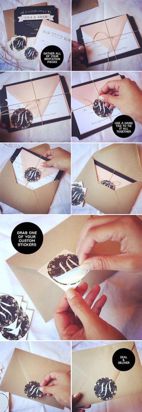 Cómo usar los sellos personalizados para bodas con simples stickers. Agrégalas a las invitaciones, recuerdos de bodas. Foto: smittenonpaper.com