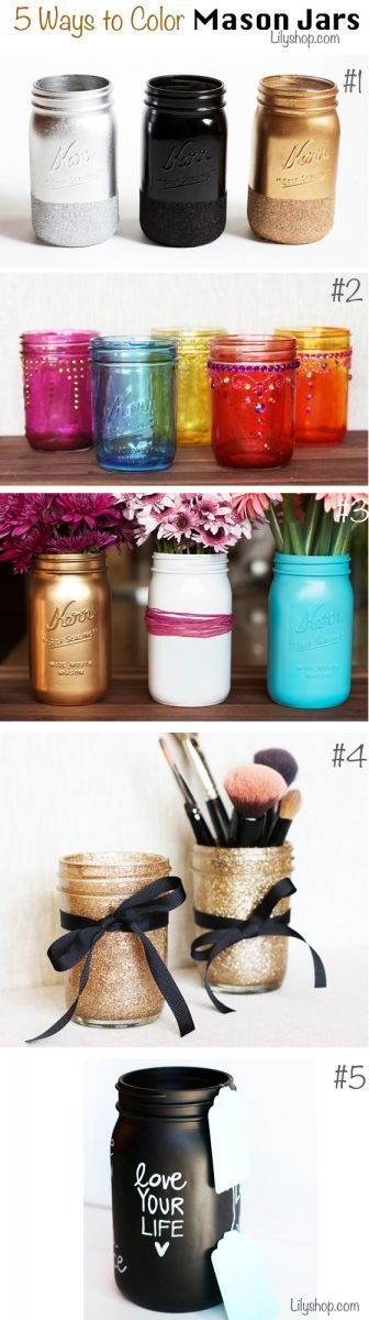 5 ideas para colorear los mason jars.