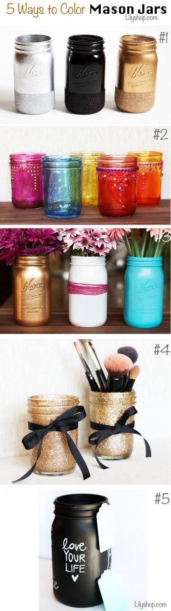 5 ideas para colorear los mason jars.