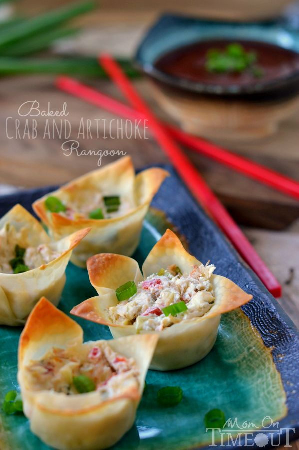 Alcachofa y cangrejo al horno rangún. | Baked crab and artichoke Rangoon. 41 original ideas of mini foods for weddings!