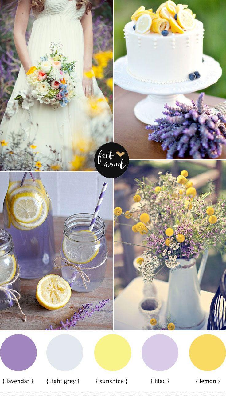 Boda en lavanda y amarillo: La combinación del color lavanda con el amarillo es perfecta para una boda campestre.