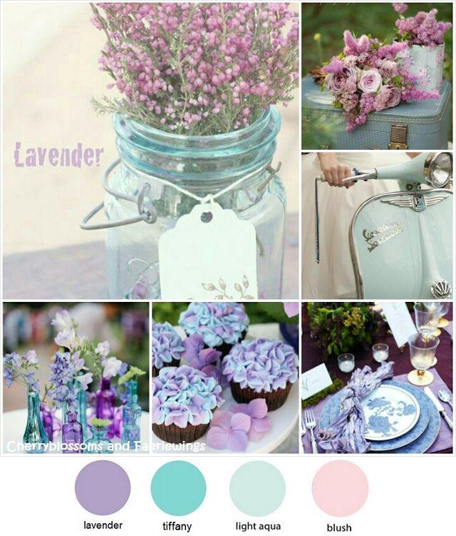 Combinación de colores para boda: lavanda y azul tiffany.