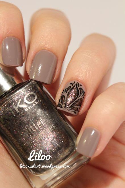 Ideas de arte para uñas: Un accent nail delicada y diseñada por liloonailart.wordpress.com