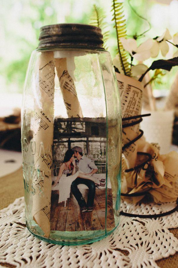 Ideas para usar mason jars como libro de firmas