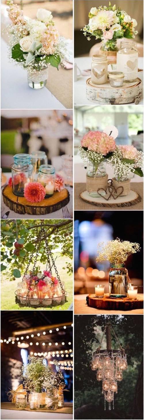 Ideas para usar mason jars en tu boda.