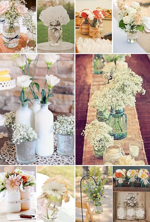 Otras ideas para los mason jars en tu boda. Geniales y repletas de cariño.