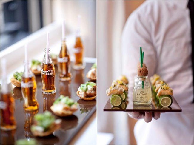 Taquitos de pescado con mini tequila Patrón y mini Coca Colas. Y tus invitados dirán: awwwww, so cute!