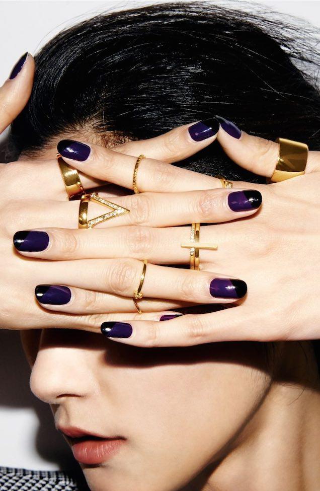 Ideas de arte para uñas: Color morado con un acento en negro