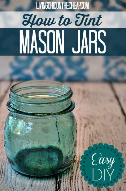Como darle un tinte a tus mason jars.