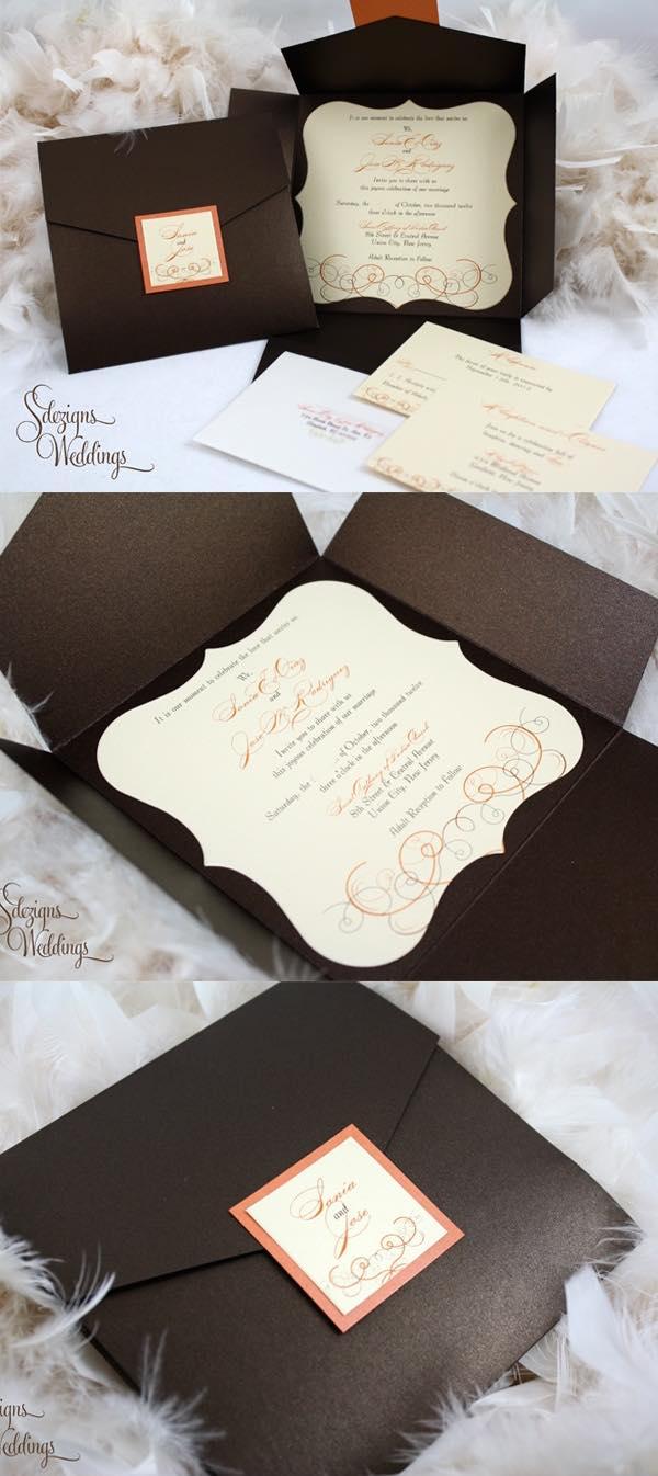 en papel metalizado y hechas a mano con cinta satinada en color caramelo y diseos de de boda