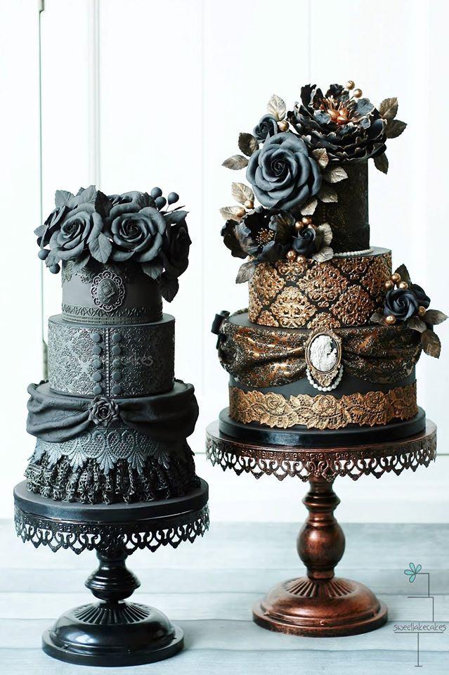 Mucho drama y perfección en estas tortas de casamiento vintage confeccionadas por Sweetlake Cake