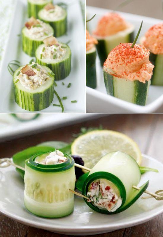 Mini rollitos de pepino y toda una serie de ideas de mini foods para bodas.
