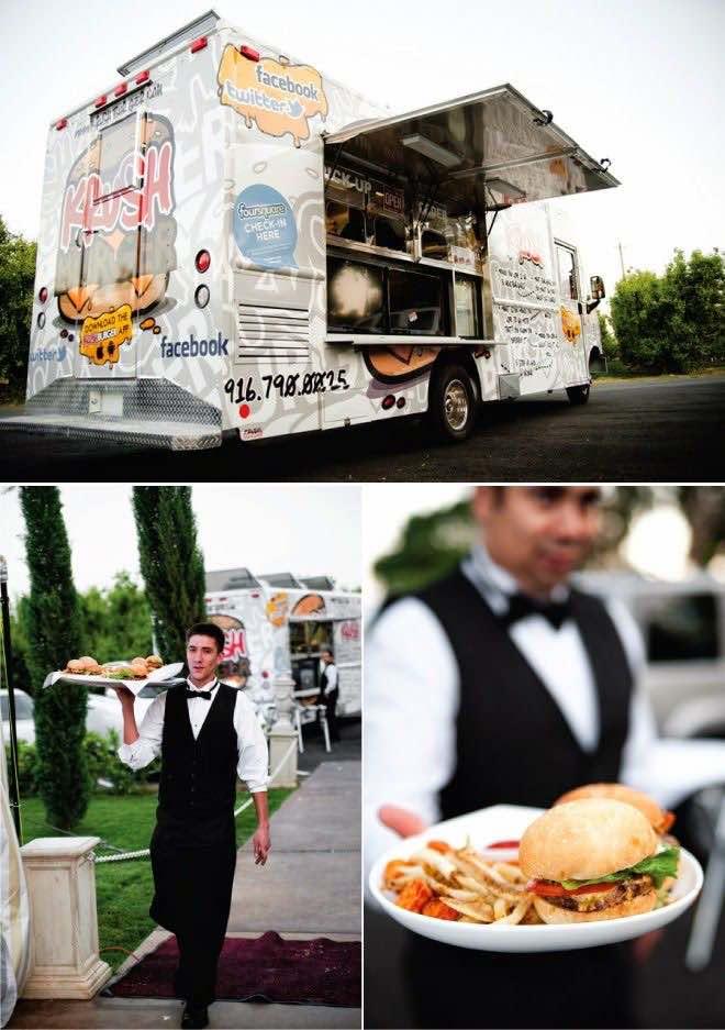 Food trucks con personal para servir la comida.