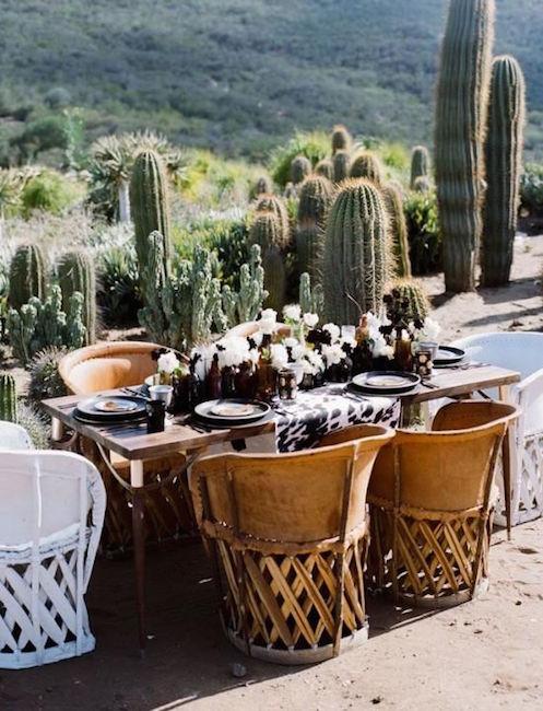 La boda country chic es una mezcla de bohemio y salvaje. Que mejor que una escena con cactus en el desierto.