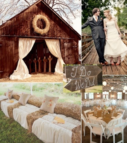 Un granero con una entrada con largas cortinas que anuncia originalidad en su interior. Bola de heno para los asientos y mucha arpillera.