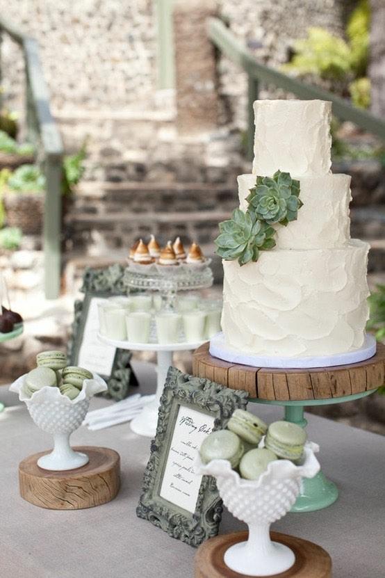 Como decorar mesas para bodas coordinadas con los colores de tu boda. Suculentas y macarons en verde menta con toques de dorado sobre purísimo blanco. Perfecto para esta boda en Southern California.