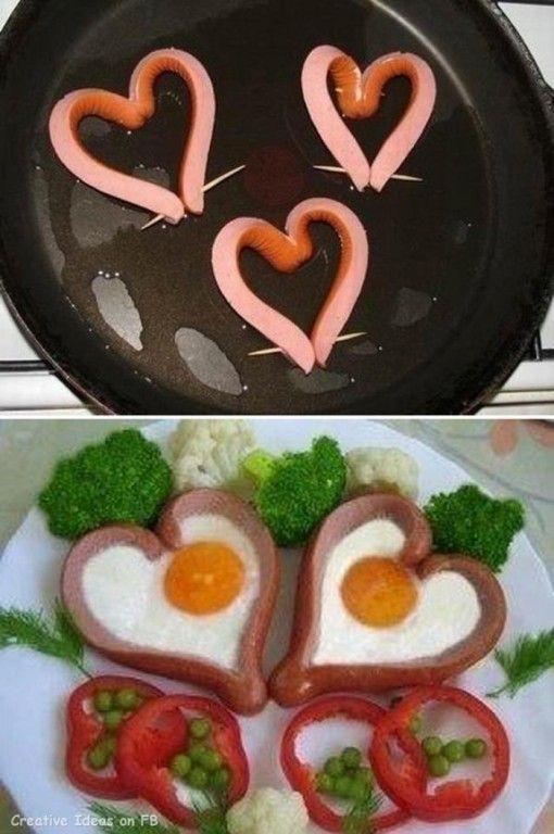 Un desayuno con mucho amor: Corazones de jamón con huevo!