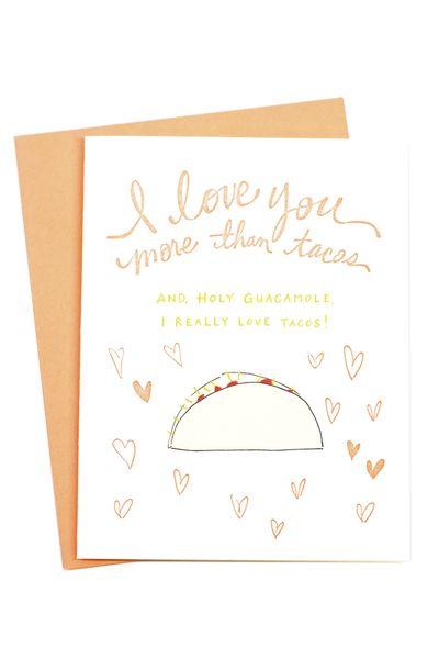 Ideas de Tarjetas de San Valentín para Regalarle a tu Novio - Tacos card