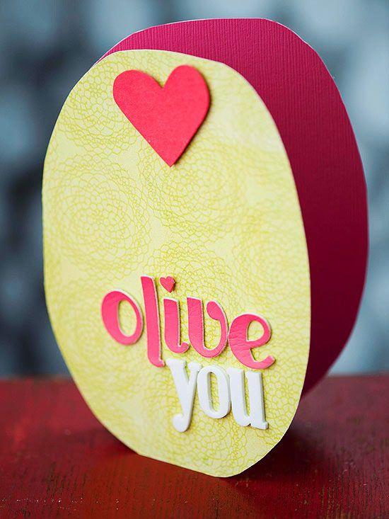 Olive You. ideas de tarjetas de San Valentín para regalarle a tu novio.