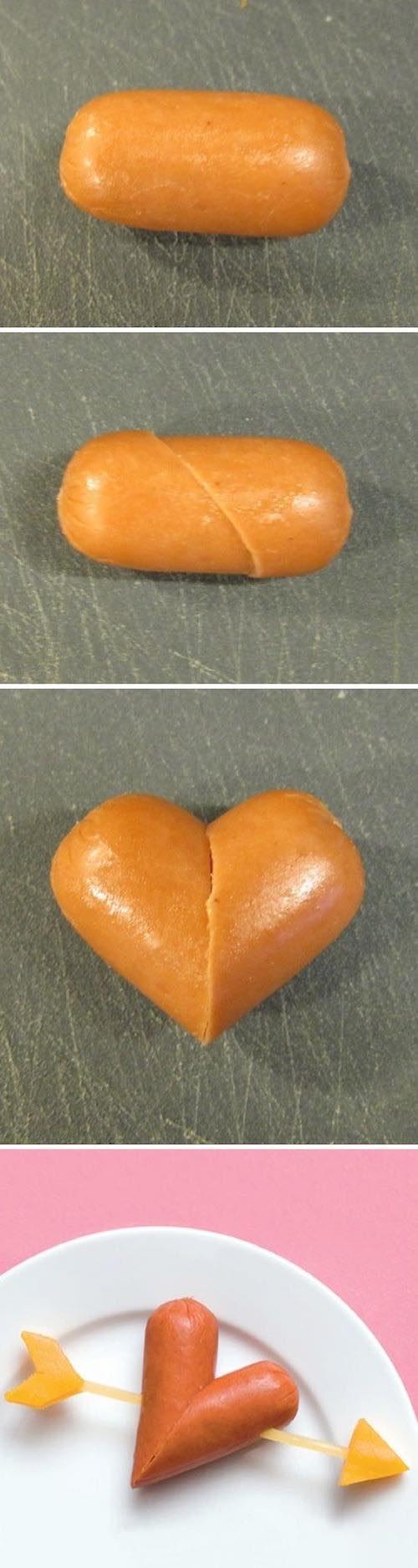 Originales Recetas para San Valentin para el Almuerzo: Una salchicha de cóctel cortada al bies, con un toothpick y queso para terminarlo en forma de flecha.