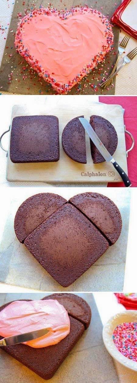 Recetas para San Valentín:-Vivan los dulces! Dos bizcochuelos, uno redondo y uno cuadrado y no necesitarás un molde en forma de corazón!