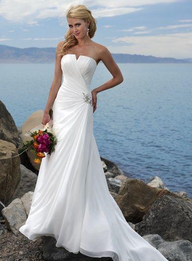 Vestidos para novias de diseñadores por corte y estilo. Corte princesa, escote palabra de honor en tela de chifon fruncida. A-Line wedding dress.