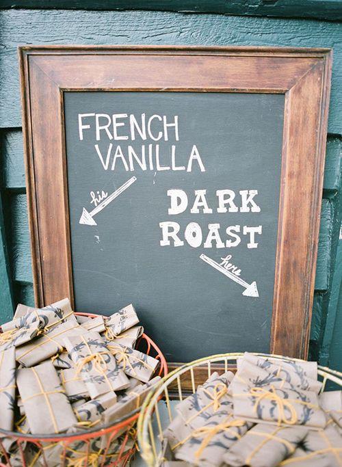 Agrega tus wedding favors al coffee bar! Una idea original para bodas contemporáneas.