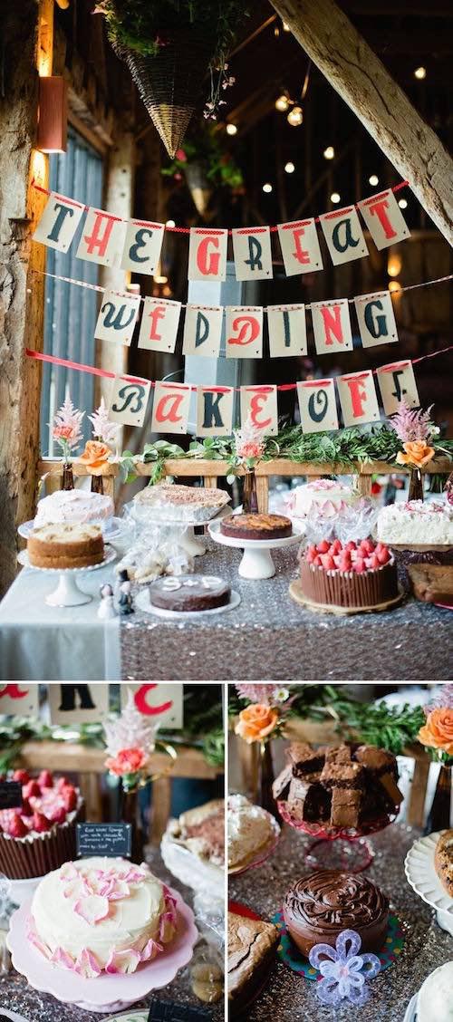 Una idea super original para escoger los postres para las mesas de tu boda: organiza un bake off. Es una idea económica y tendrás variedad de postres.