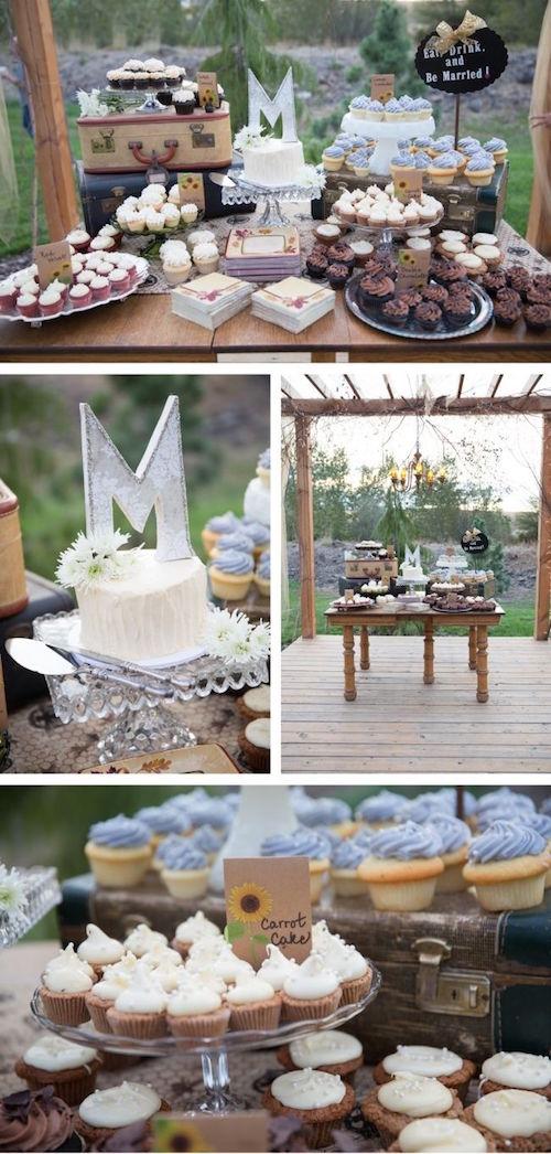 Ideas para presentar las mesas de dulces para bodas rústicas en un granero en Oregon. Todo hecho a mano. Los detalles couuntry chic incluyeron un cupcake bar rústico, carteles, kits de S'mores para asar al fuego, un granero lleno de linternas de papel y no faltaron ni las botas de cowboy para las bridesmaids!