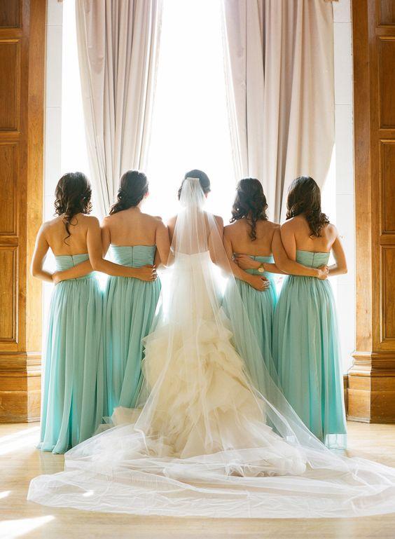 Vestidos para damas de honor verde agua