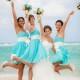 Como elegir los vestidos para damas de honor perfectos para una boda en la playa. Azul tiffany con sashes en marfil de Alfred Angelo. Fotografia de jfhanniganphoto