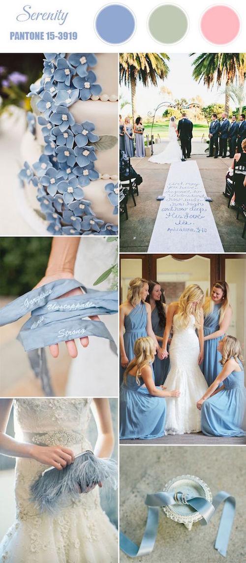Ideas para bodas en la primavera bañadas en serenity blue.