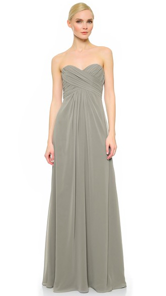 Monique Lhuillier bridesmaids en slate