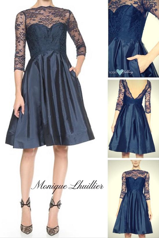 Que opinas de este Monique Lhuillier en tafetta y encaje, con escote corazón, espalda en V, mangas 3/4, y falda con volumen de su colección para damas de honor en azul marino.