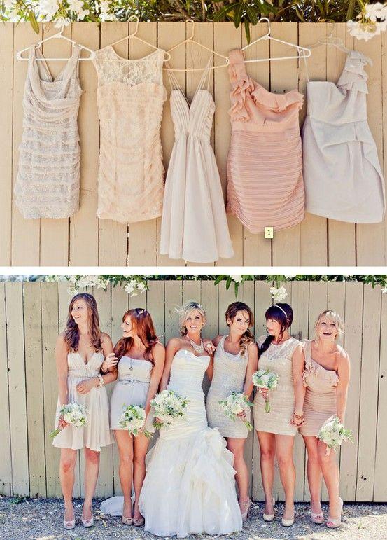 Vestidos de damas de honor monocromáticos con distintos cortes y estilos ¿no se ven hermosas? Una guía para elegir los vestidos para damas de honor perfectos!